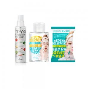 Ariul trio za dvostruko umirivanje i čišćenje lica hidrator, micelarna voda i tufer za toniranje