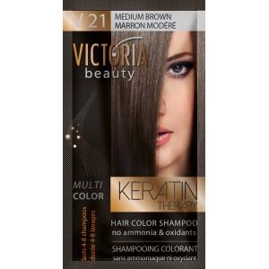 Kolor šampon sa keratinom V21 srednja smedja