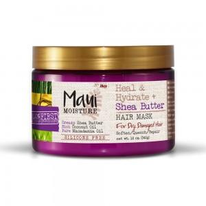 Maui Shea maslac maska za suvu i oštećenu kosu oporavak, meka i nahranjena kosa bez silikona 340g