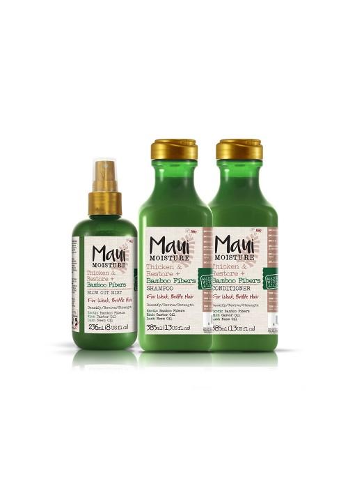 Maui Bambus gusta i obnovljena kosa šampon, regenerator i sprej bez silikona za omekšavanje i jačanje suve, lomljive dlake kose