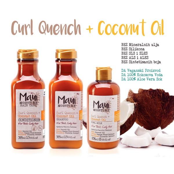 Maui Kokosovo ulje za kovrdžavu i gustu kosu šampon, regenerator i sprej