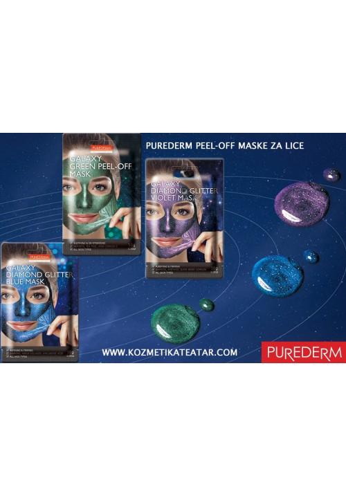 Purederm Svetlucave Galaxy zelena, ljubičasta i plava maska 3x10g
