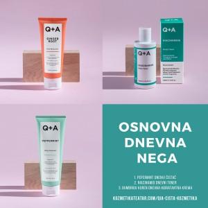 Q+A osnovna dnevna nega lica 3 čista proizvoda