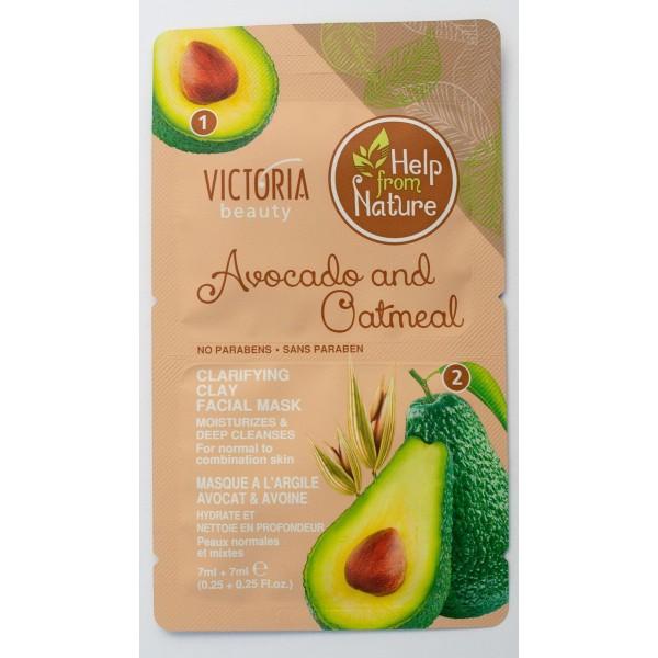 Glinena maska za  čišćenje lica avokado i ovsene pahuljice Victoria Beauty