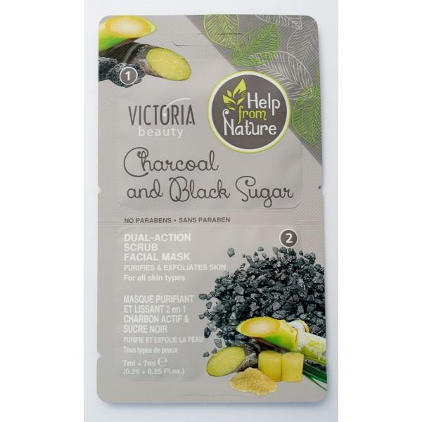 Piling maska od aktivnog uglja i crnog  šećera  Victoria Beauty